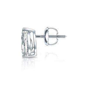 Certified 0.75 ct. tw. Pear Shape Diamond SINGLE Stud Earring in 14K White Gold V-End Prong  (I-J, I1)