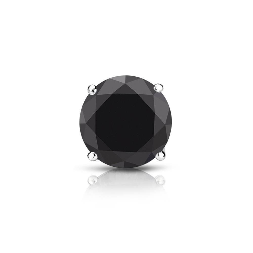 Certified 0.75 ct. tw. Round Black Diamond SINGLE Stud Earring in 14K White Gold 4-Prong Basket (AAA)