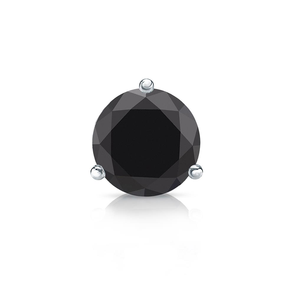 Certified 0.75 ct. tw. Round Black Diamond SINGLE Stud Earring in 14K White Gold 3-Prong Martini (AAA)