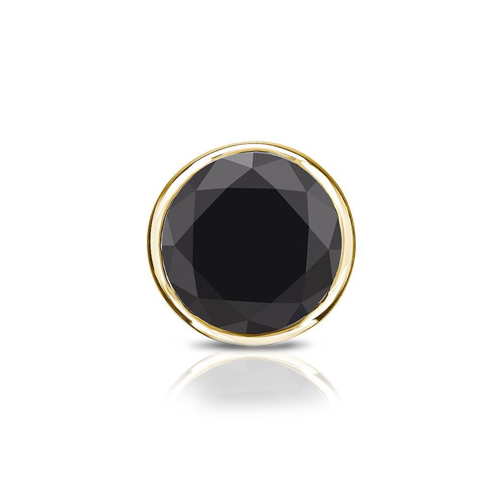Certified 0.75 ct. tw. Round Black Diamond SINGLE Stud Earring in 18K Yellow Gold Bezel (AAA)