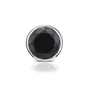 Certified 0.13 ct. tw. Round Black Diamond SINGLE Stud Earring in 14K White Gold Bezel (AAA)