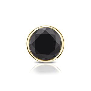 Certified 0.75 ct. tw. Round Black Diamond SINGLE Stud Earring in 18K Yellow Gold Bezel (AAA)