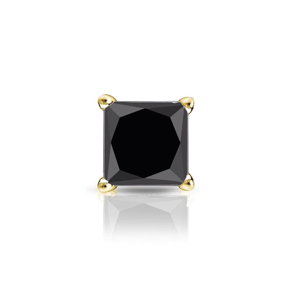 Certified 0.25 ct. tw. Princess Black Diamond SINGLE Stud Earring in 14K Yellow Gold 4-Prong Martini (AAA)