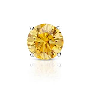 Certified 1.25 ct. tw. Round Yellow Diamond SINGLE Stud Earring in 14K White Gold 4-Prong Basket (Yellow, SI1-SI2)