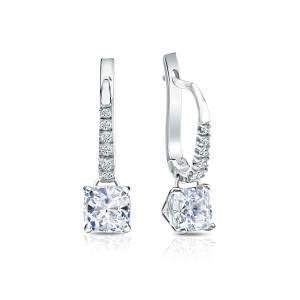 Dangle 4-Prong Martini Diamond Earrings in 14k White Gold