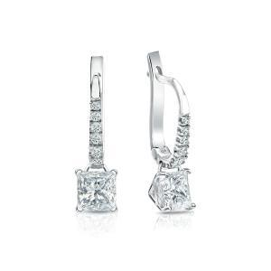 Dangle 4-Prong Martini Diamond Earrings in 14k White Gold