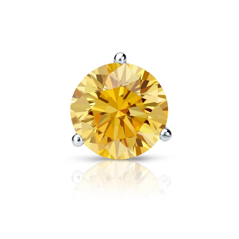 Certified 1.25 ct. tw. Round Yellow Diamond SINGLE Stud Earring in 18K White Gold 3-Prong Martini (Yellow, SI1-SI2)