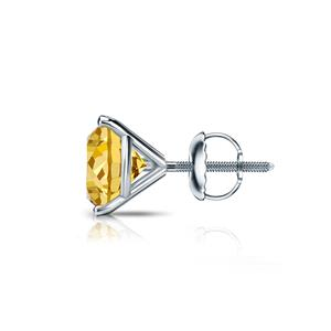 Certified 1.25 ct. tw. Round Yellow Diamond SINGLE Stud Earring in 18K White Gold 3-Prong Martini (Yellow, SI1-SI2)