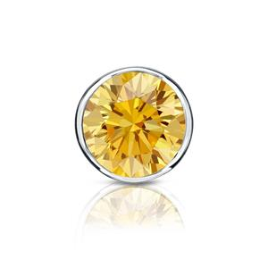 Certified 0.13 ct. tw. Round Yellow Diamond SINGLE Stud Earring in 14K White Gold Bezel (Yellow, SI1-SI2)
