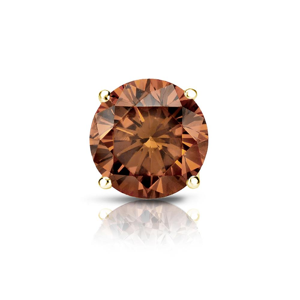 Certified 0.75 ct. tw. Round Brown Diamond SINGLE Stud Earring in 14K Yellow Gold 4-Prong Basket (Brown, SI1-SI2)