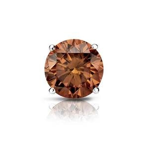 Certified 0.75 ct. tw. Round Brown Diamond SINGLE Stud Earring in 14K White Gold 4-Prong Basket (Brown, SI1-SI2)
