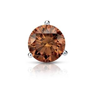 Certified 0.13 ct. tw. Round Brown Diamond SINGLE Stud Earring in 14K White Gold 3-Prong Martini (Brown, SI1-SI2)