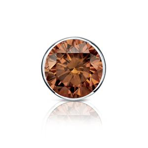 Certified 0.75 ct. tw. Round Brown Diamond SINGLE Stud Earring in Platinum Bezel (Brown, SI1-SI2)
