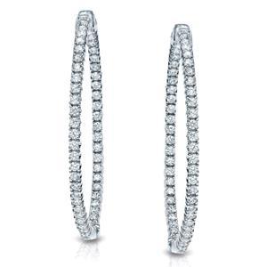Certified 1.50 ct. tw. 33mm Round Diamond Hoop Earrings in 14K White Gold (J-K, I1-I2)