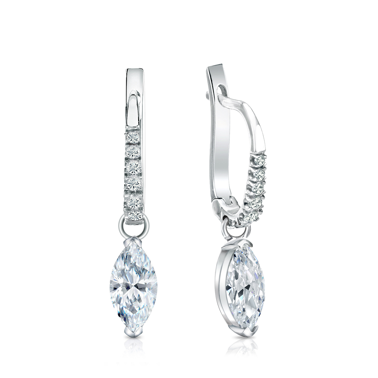 Dangle V-End Prong Diamond Earrings in 14k White Gold
