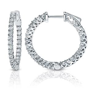 Certified 1.50 ct. tw. Medium Trellis-style Round Diamond Hoop Earrings in 14K White Gold (H-I, SI1-SI2), 0.75  inch