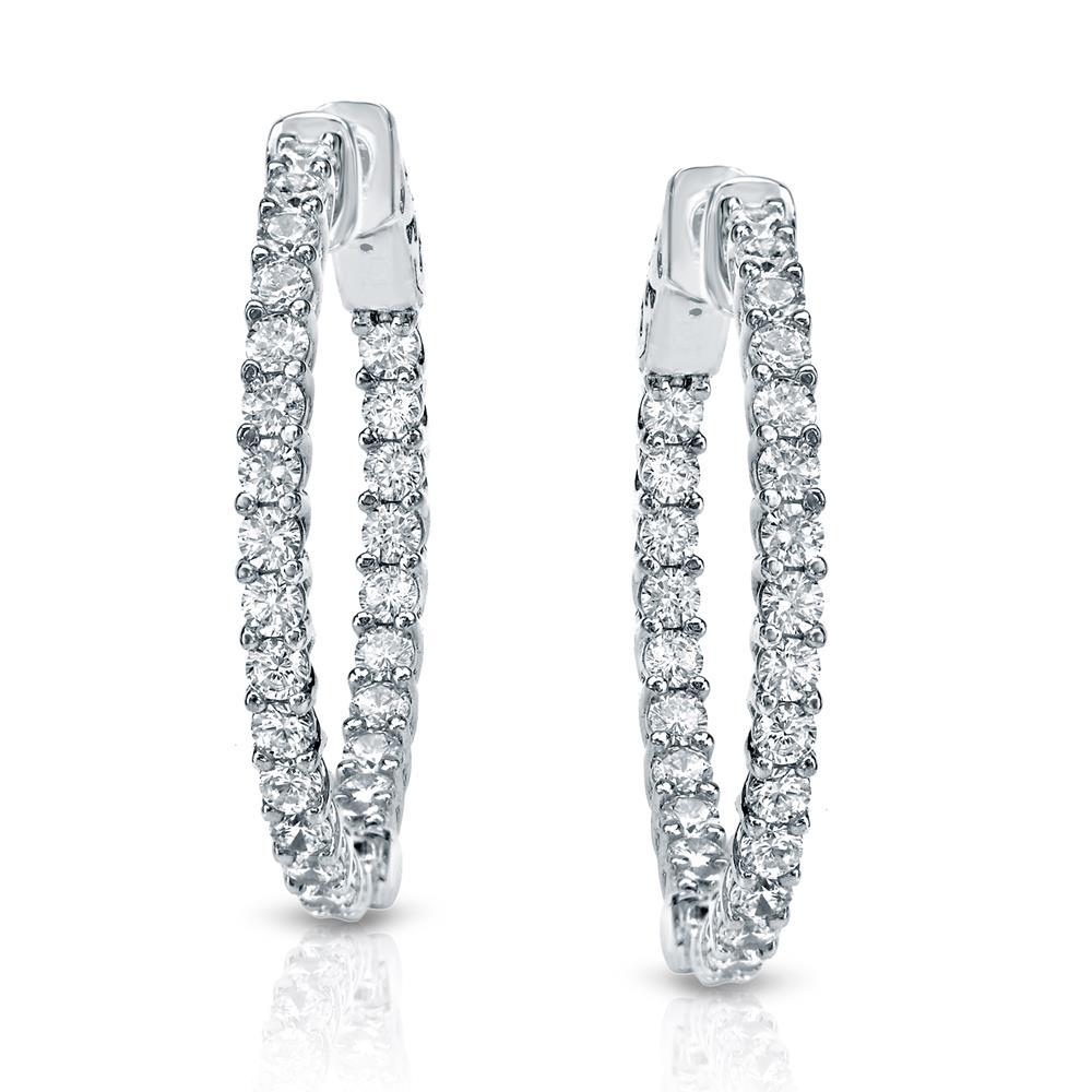 Certified 1.50 ct. tw. Medium Trellis-style Round Diamond Hoop Earrings in 14K White Gold (J-K, I1-I2), 0.90-inch (23mm)