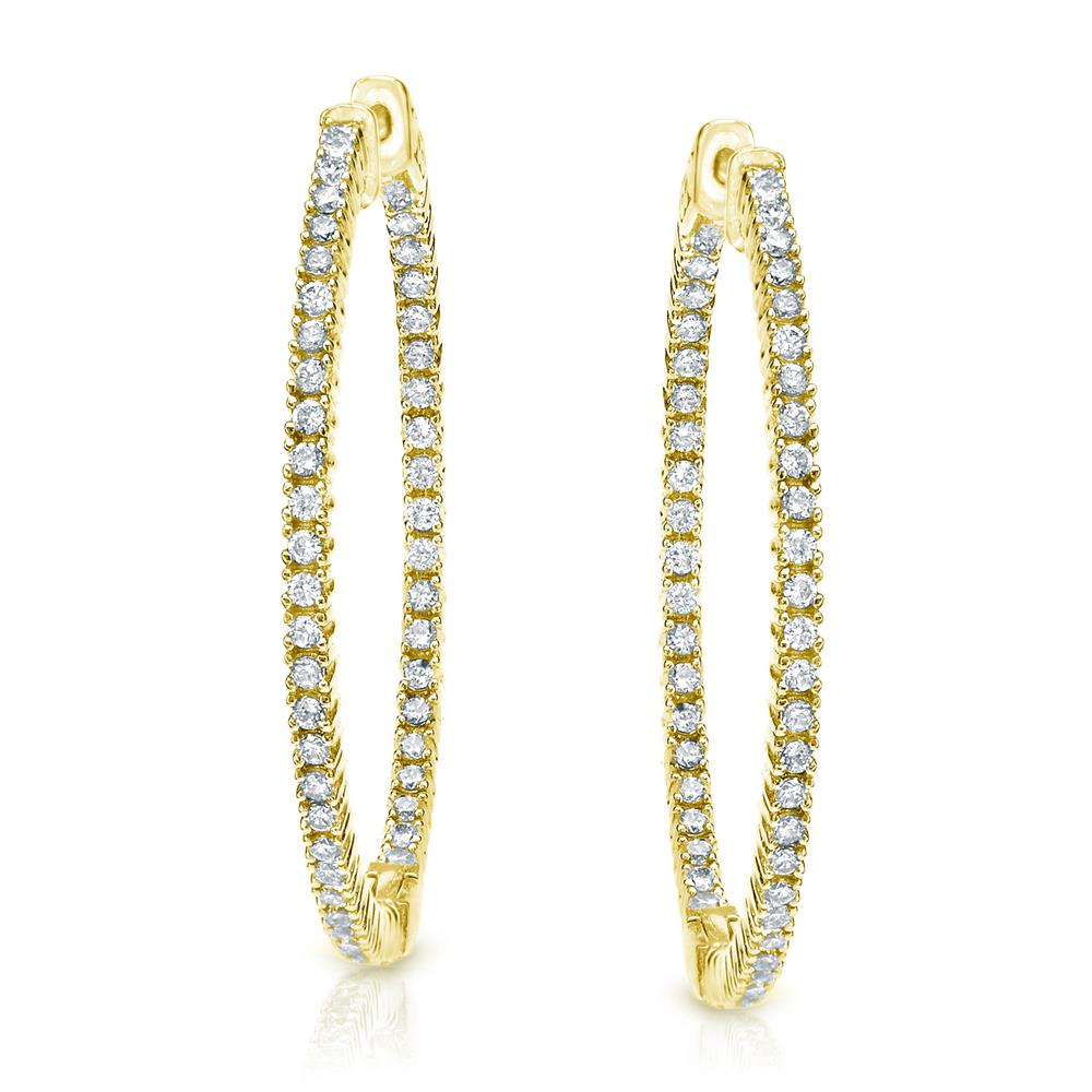Certified 6.25 ct. tw. Extra-Large Round Diamond Hoop Earrings in 14K Yellow Gold (J-K, I1-I2), 2.28-inch (58mm)