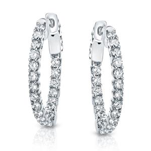 Certified 3.00 ct. tw. Medium Trellis-style Round Diamond Hoop Earrings in 14K White Gold (H-I, SI1-SI2), 0.75  inch
