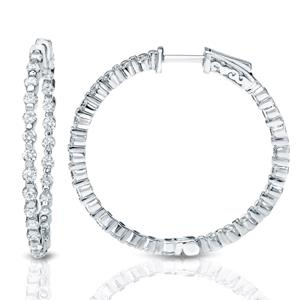 Certified 10.00 ct. tw. Large Round Diamond Hoop Earrings in 14K White Gold (H-I, SI1-SI2), 1.8-inch (48mm)