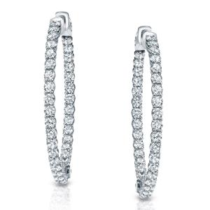 Certified 3.50 ct. tw. Medium Inside-Out Trellis-style Round Diamond Hoop Earrings in 14K White Gold (J-K, I1-I2), 1.41-inch (36mm)