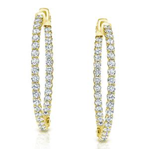 Certified 3.50 ct. tw. Medium Inside-Out Trellis-style Round Diamond Hoop Earrings in 14K Yellow Gold (J-K, I1-I2), 1.41-inch (36mm)