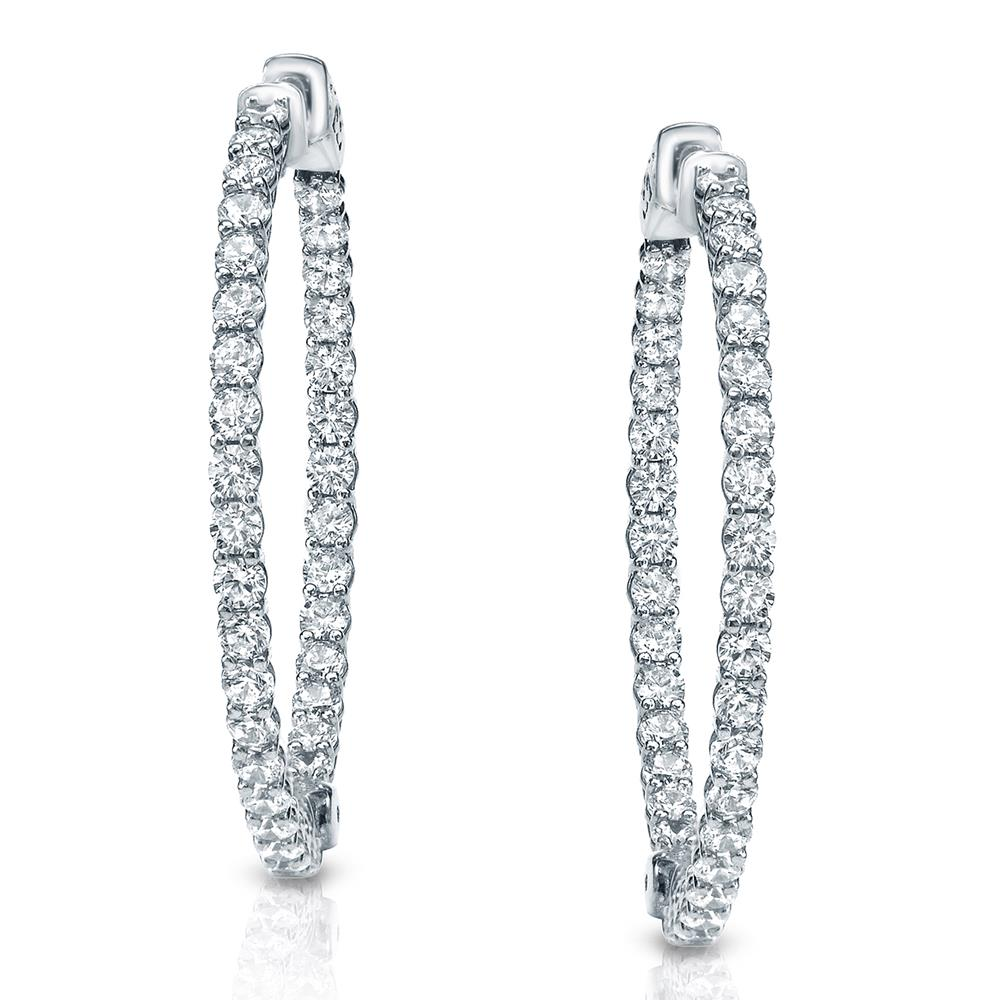 Certified 3.50 ct. tw. Medium Inside-Out Trellis-style Round Diamond Hoop Earrings in 14K White Gold (H-I, SI1-SI2), 1.41-inch (36mm)