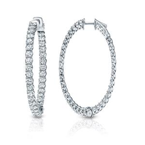 Certified 3.50 ct. tw. Inside-Out Trellis-style Round Diamond Hoop Earrings in 14K White Gold (H-I, SI1-SI2)