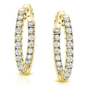 Certified 5.25 ct. tw. Medium Round Diamond Hoop Earrings in 14K Yellow Gold (J-K, I1-I2), 1.3-inch (33mm)