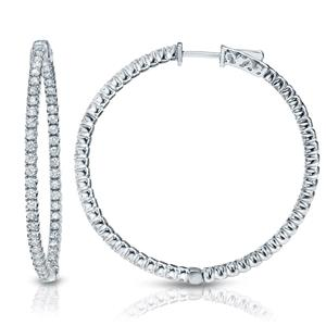 Certified 1.00 ct. tw. Medium Round Diamond Hoop Earrings in 14K White Gold (H-I, SI1-SI2), 1.3-inch (33mm)