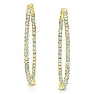 Certified 1.00 ct. tw. Medium Round Diamond Hoop Earrings in 14K Yellow Gold (H-I, SI1-SI2), 1.3-inch (33mm)