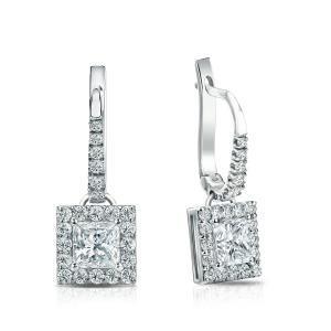 Dangle Halo Diamond Earrings in 14k White Gold
