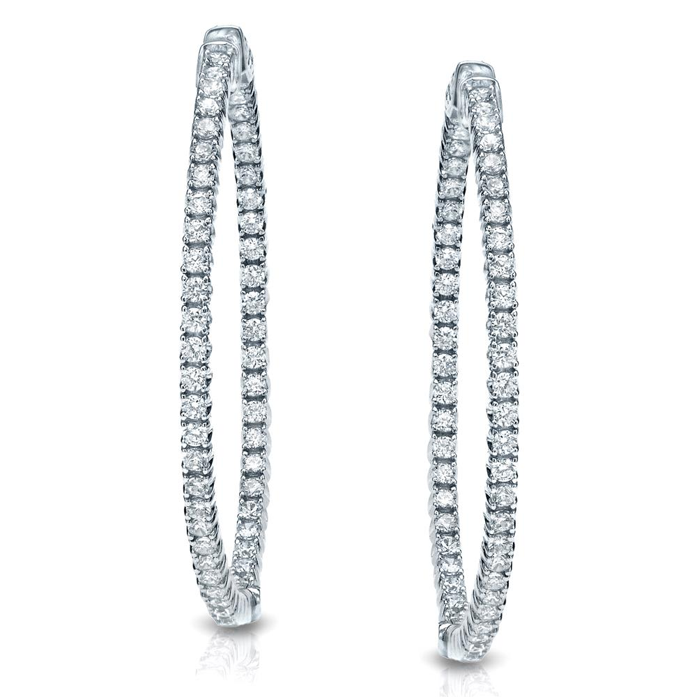 Certified 3.75 ct. tw. Medium Trellis-style Round Diamond Hoop Earrings in 14K White Gold (H-I, SI1-SI2), 1.41-inch (36mm)