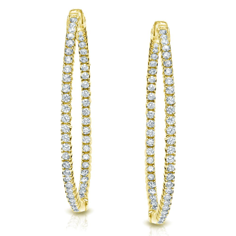 Certified 3.75 ct. tw. Medium Trellis-style Round Diamond Hoop Earrings in 14K Yellow Gold (H-I, SI1-SI2), 1.41-inch (36mm)