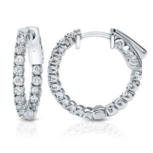 Certified 2.50 ct. tw. Medium Round Diamond Hoop Earrings in 14K White Gold (H-I, SI1-SI2), 0.86-inch (22mm)