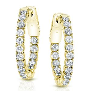 Certified 2.50 ct. tw. Medium Round Diamond Hoop Earrings in 14K Yellow Gold (H-I, SI1-SI2), 0.86-inch (22mm)
