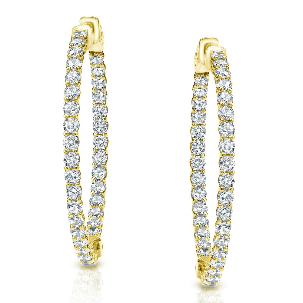 Certified 1.50 ct. tw. Medium Trellis-style Round Diamond Hoop Earrings in 14K Yellow Gold (H-I, SI1-SI2), 0.90-inch (23mm)
