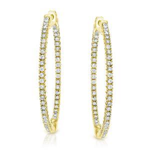 Certified 7.75 ct. tw. Round Diamond Hoop Earrings in 14K Yellow Gold (J-K, I1-I2)