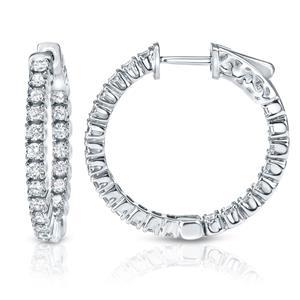 Certified 2.00 ct. tw. Inside-out Round Diamond Hoop Earrings in 14K White Gold (J-K, I1-I2)