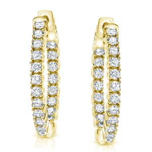 Certified 2.00 ct. tw. Medium Inside-out Round Diamond Hoop Earrings in 14K Yellow Gold (J-K, I1-I2), 0.86-inch (22mm)