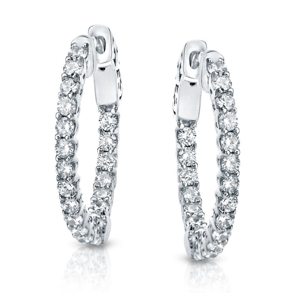 Certified 2.00 ct. tw. Small Trellis-style Round Diamond Hoop Earrings in 14K White Gold (J-K, I1-I2), 0.66-inch (17mm)
