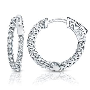 Certified 2.00 ct. tw. Small Trellis-style Round Diamond Hoop Earrings in 14K White Gold (J-K, I1-I2), 0.66-inch (17mm)