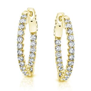 Certified 2.00 ct. tw. Small Trellis-style Round Diamond Hoop Earrings in 14K Yellow Gold (J-K, I1-I2), 0.66-inch (17mm)