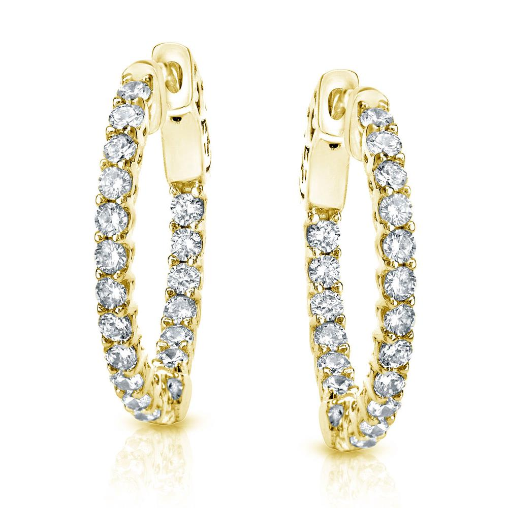 Certified 2.00 ct. tw. Small Trellis-style Round Diamond Hoop Earrings in 14K Yellow Gold (H-I, SI1-SI2), 0.66-inch (17mm)
