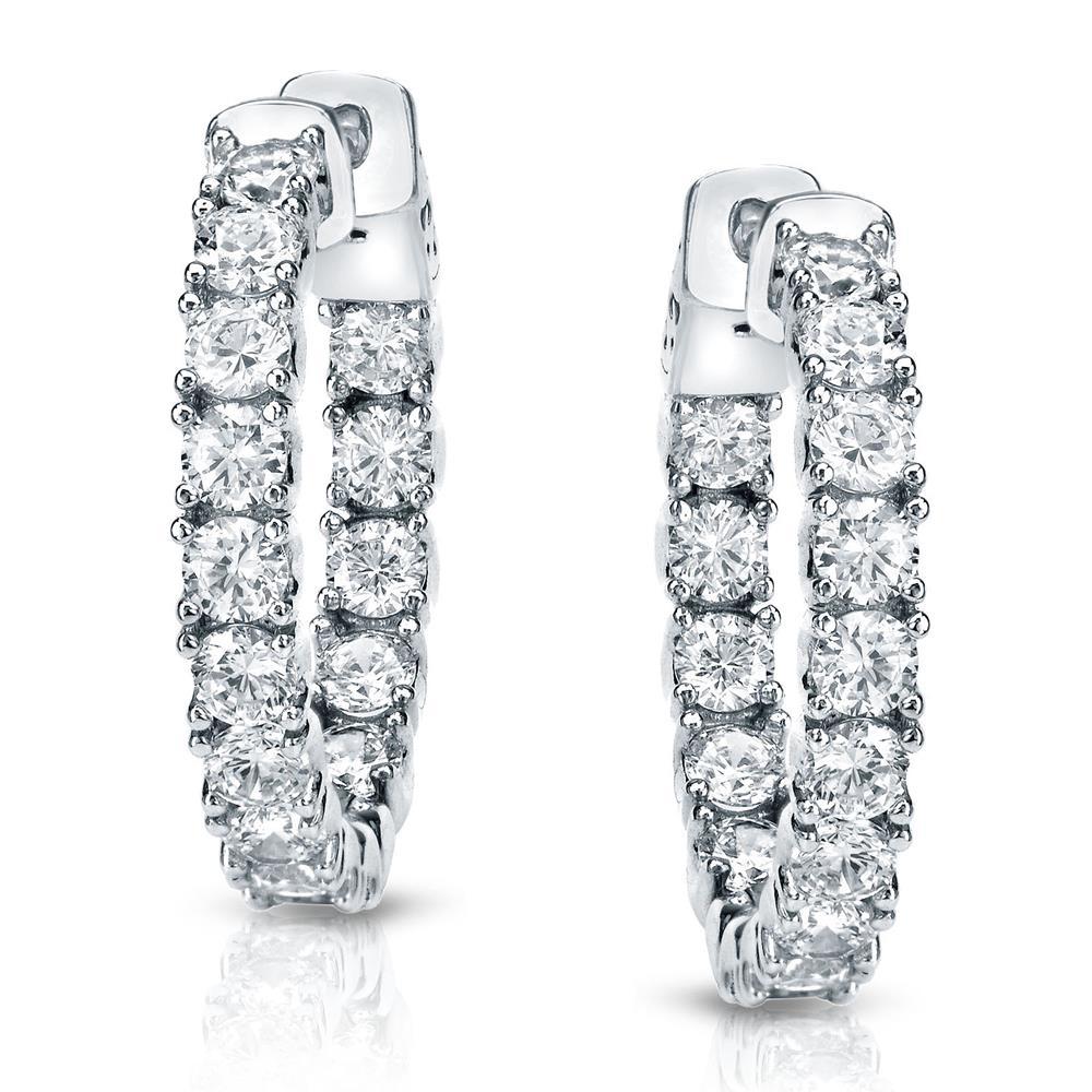 Certified 3.00 ct. tw. Medium Inside-Out Round Diamond Hoop Earrings in 14K White Gold (J-K, I1-I2), 0.86-inch (22mm)