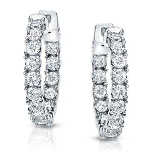 Certified 3.00 ct. tw. Small Inside-Out Round Diamond Hoop Earrings in 14K White Gold (J-K, I1-I2)