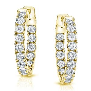 Certified 3.00 ct. tw. Medium Inside-Out Round Diamond Hoop Earrings in 14K Yellow Gold (J-K, I1-I2), 0.86-inch (22mm)
