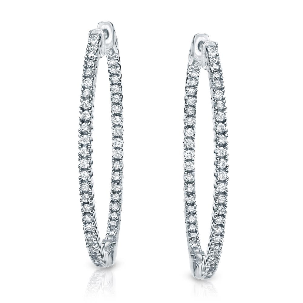 Certified 2.00 ct. tw. Medium Round Diamond Hoop Earrings in 14K White Gold (H-I, SI1-SI2), 0.66-inch (22mm)