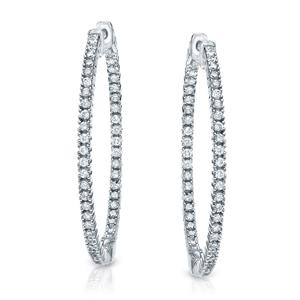 Certified 2.00 ct. tw. Round Diamond Hoop Earrings in 14K White Gold (H-I, SI1-SI2)