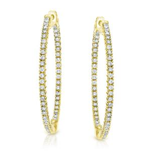 Certified 2.00 ct. tw. Medium Round Diamond Hoop Earrings in 14K Yellow Gold (H-I, SI1-SI2), 0.66-inch (22mm)